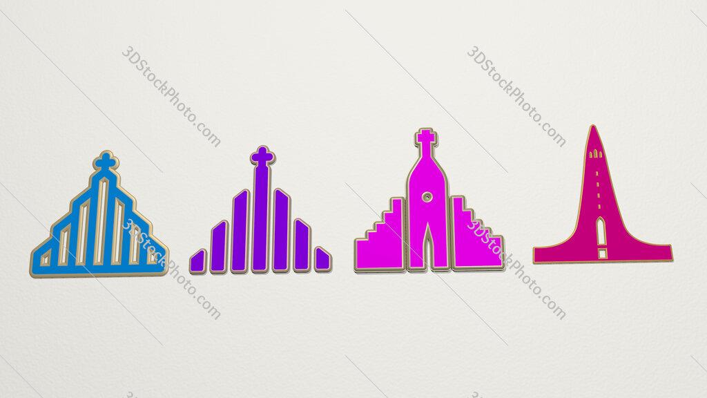 hallgrimskirkja 4 icons set