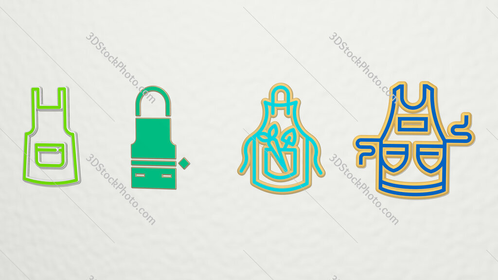 Apron 4 icons set