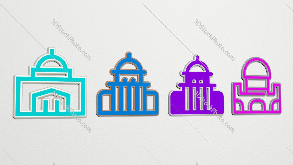 city hall 4 icons set