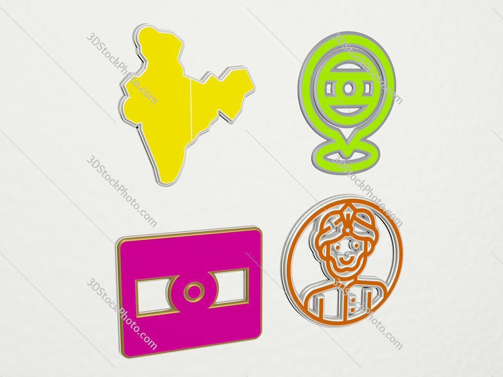 india 4 icons set