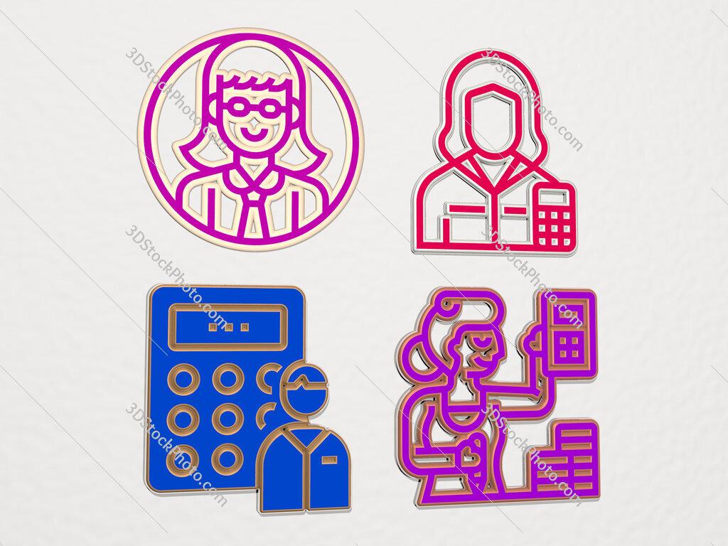 accountant 4 icons set