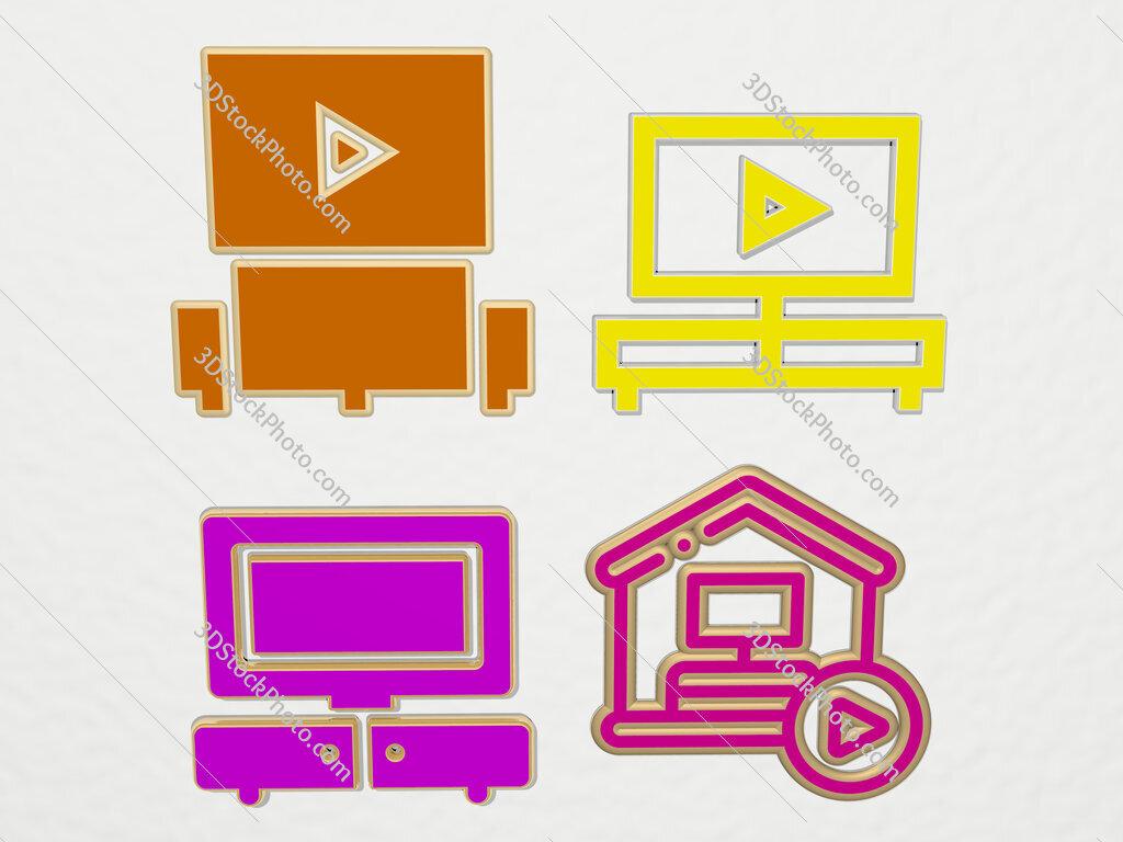 watching tv 4 icons set
