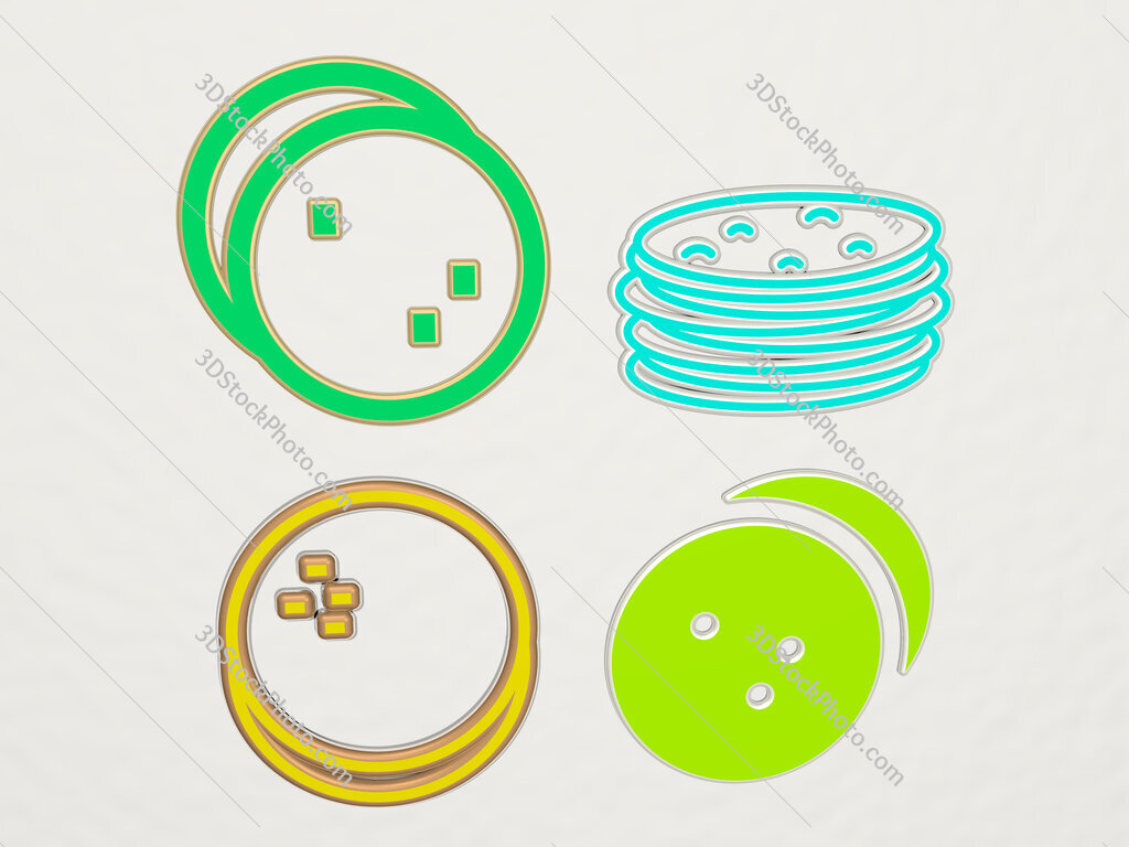 tortillas 4 icons set