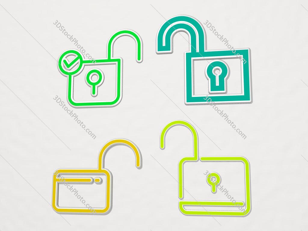 Unlocked 4 icons set