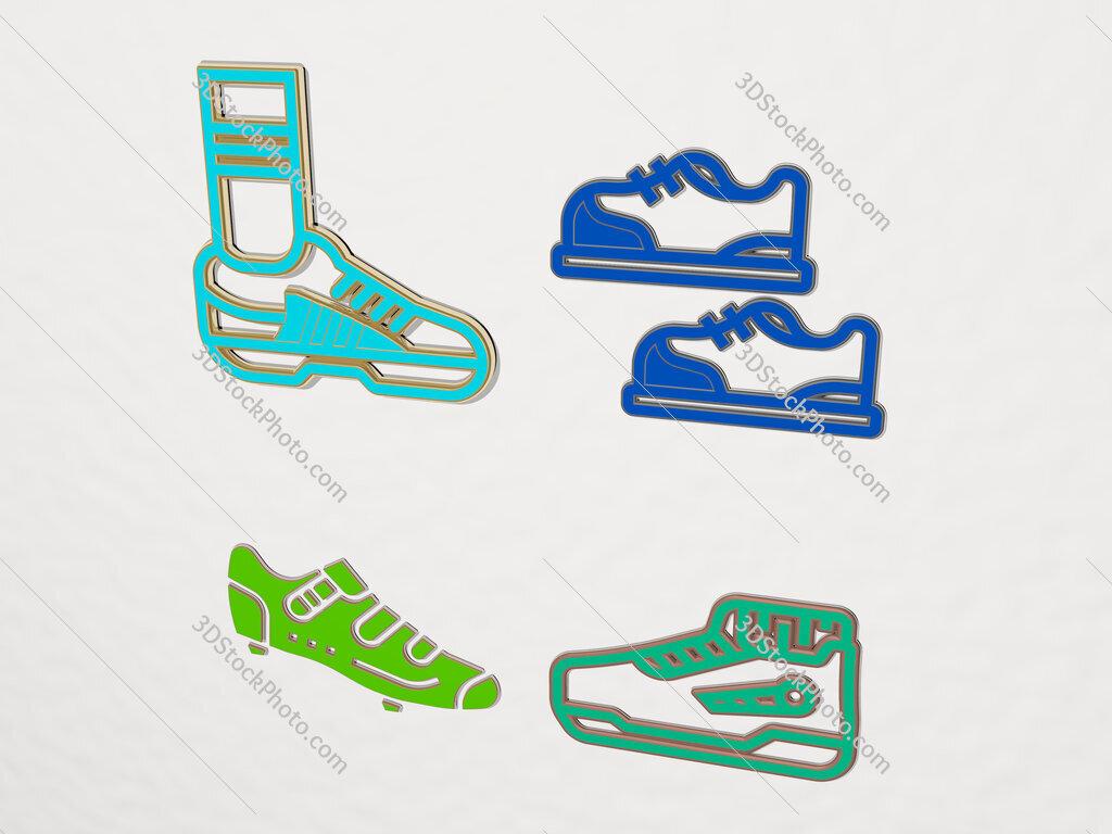 shoes 4 icons set