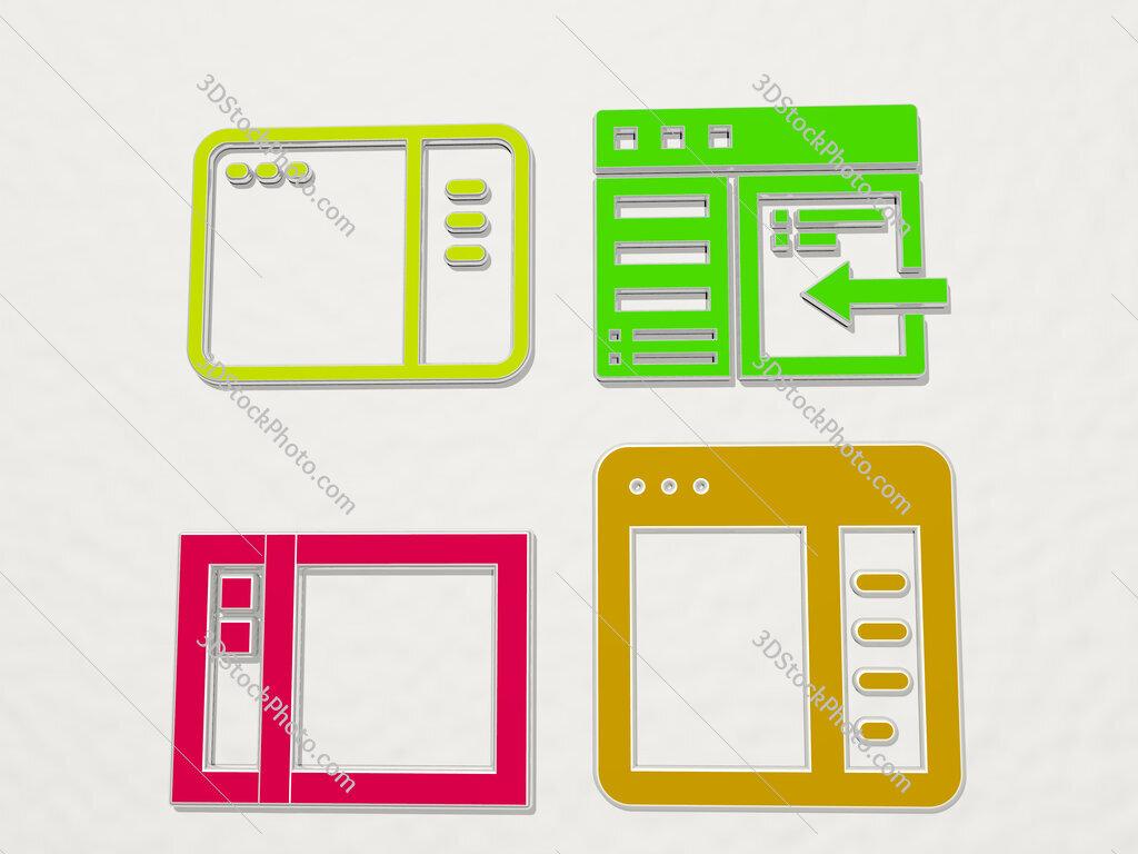 Sidebar 4 icons set