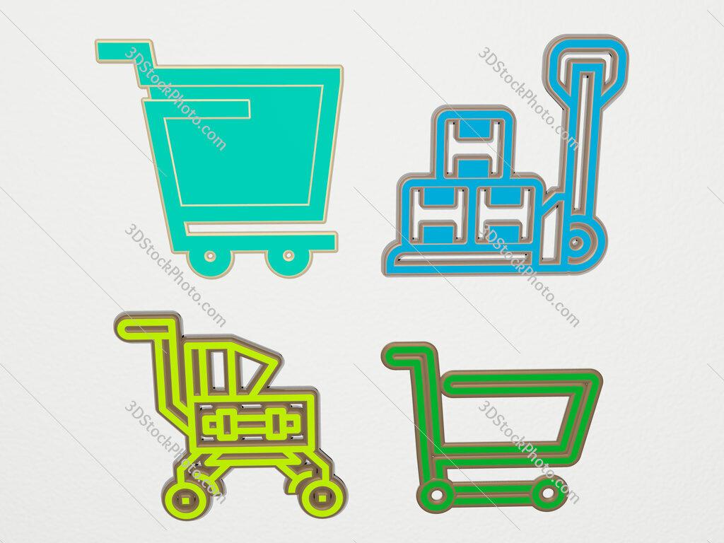 cart 4 icons set