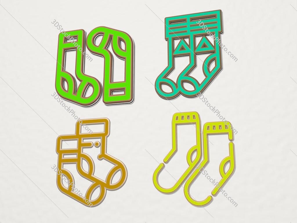 Socks 4 icons set