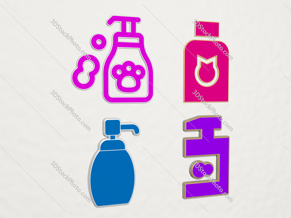 pet shampoo 4 icons set