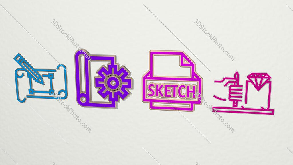 sketch 4 icons set