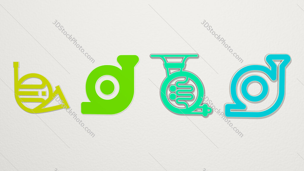 french horn 4 icons set