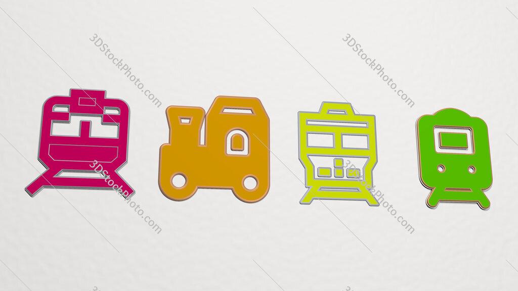 train 4 icons set