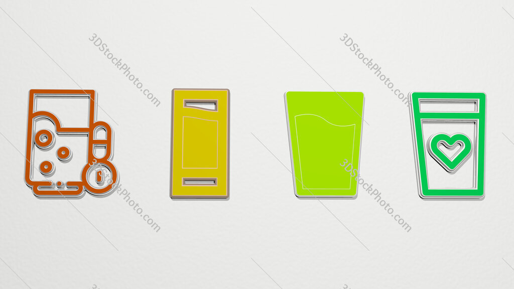 water glass 4 icons set