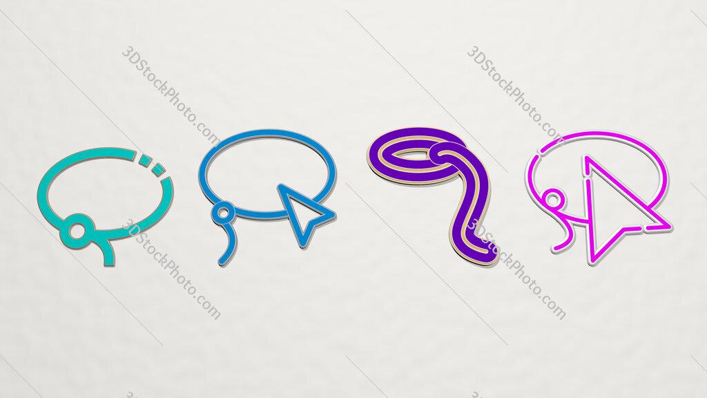 lasso 4 icons set