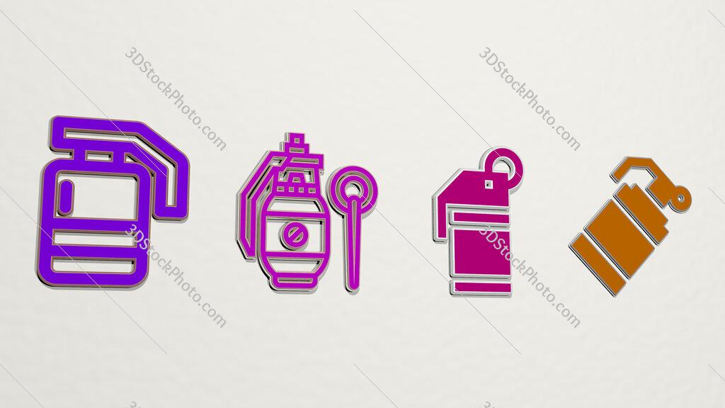 grenade 4 icons set