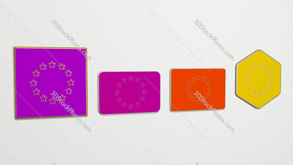european union 4 icons set