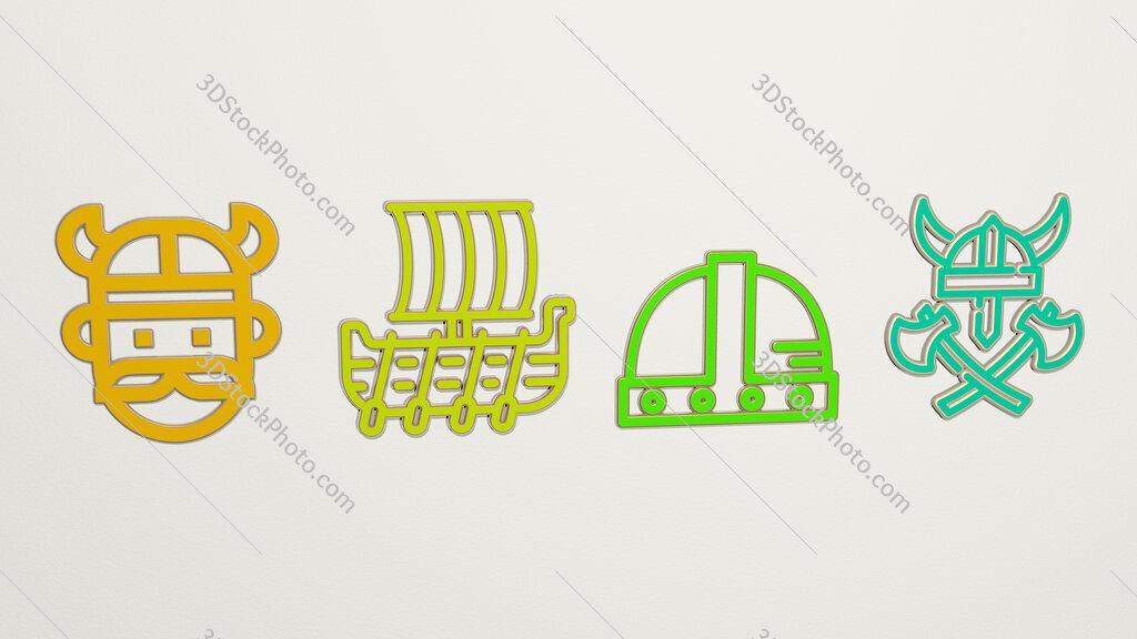 viking 4 icons set