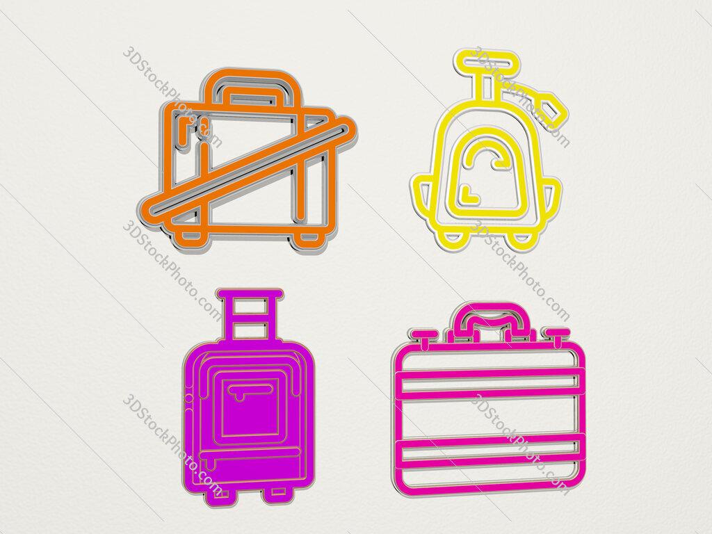 suitcase 4 icons set