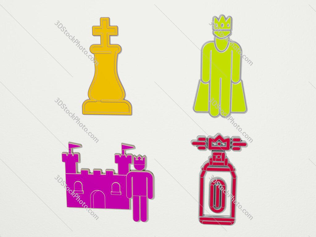 king 4 icons set