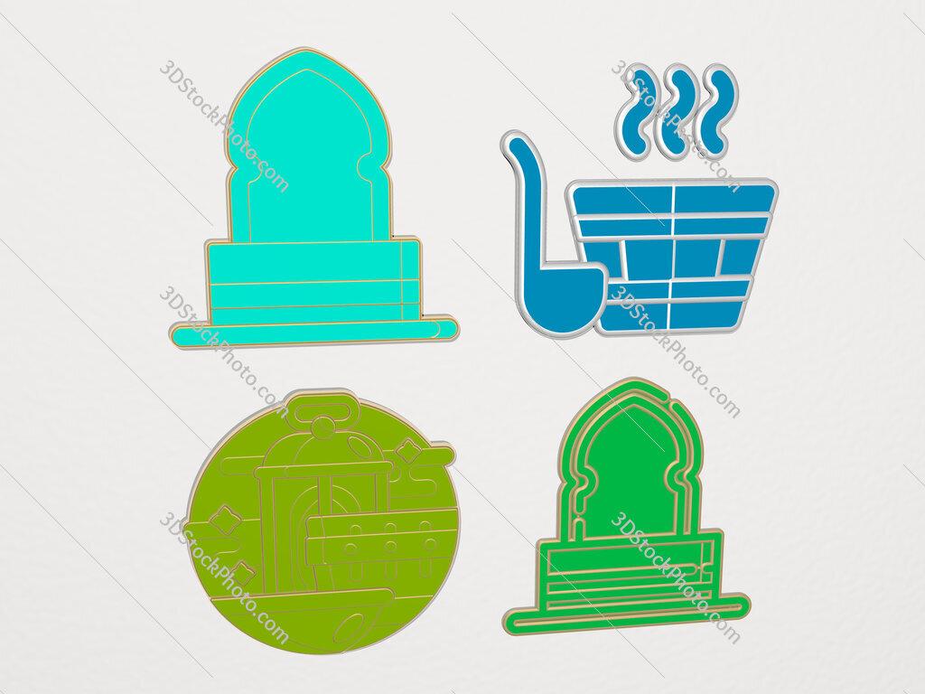 hammam 4 icons set