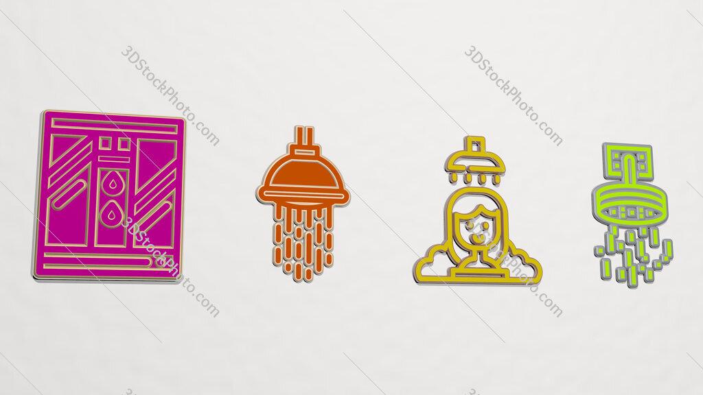 shower 4 icons set