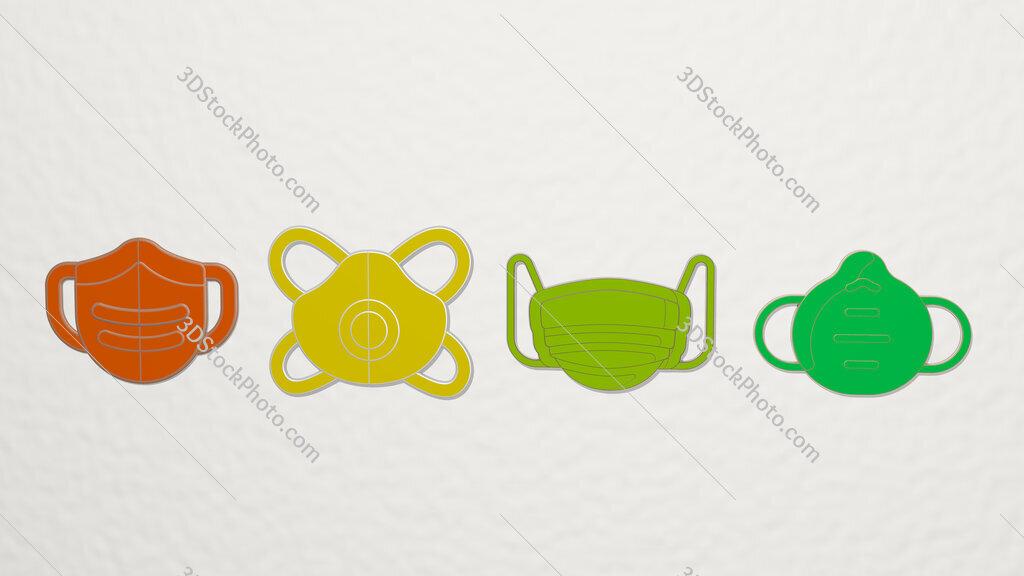 medical mask 4 icons set