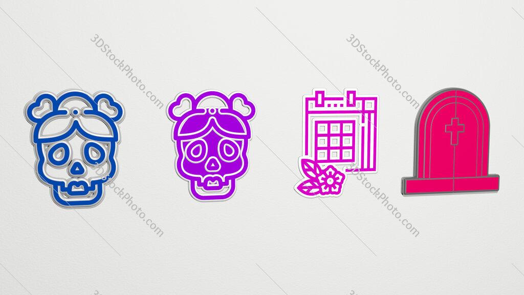 dia-de-muertos 4 icons set