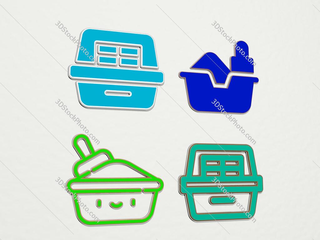litter box 4 icons set