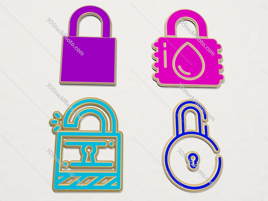 padlock 4 icons set