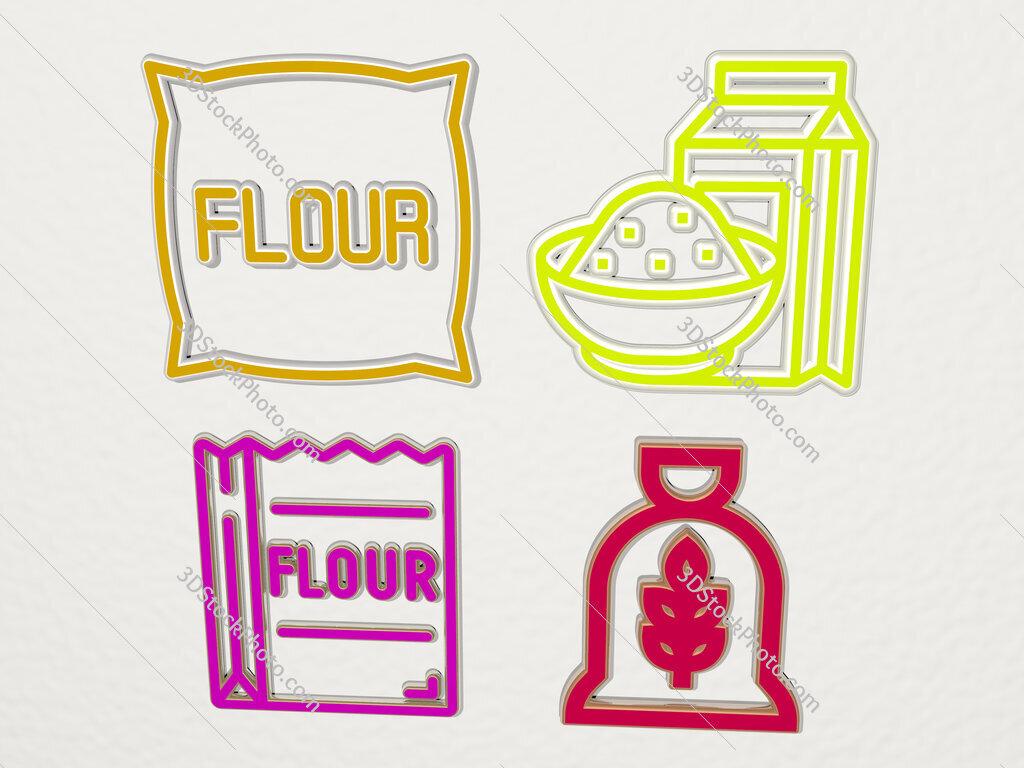 flour 4 icons set
