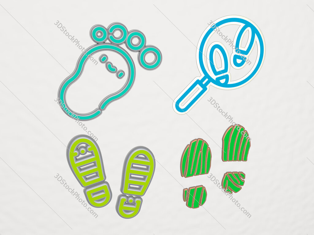 footprints 4 icons set