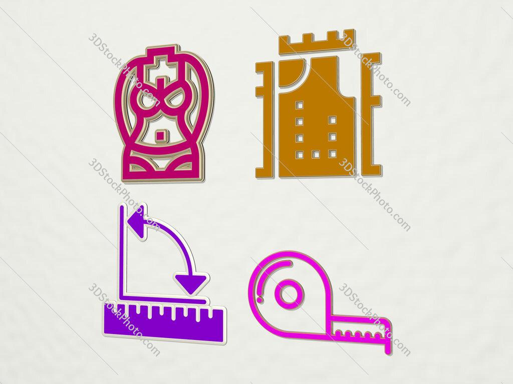 measure 4 icons set