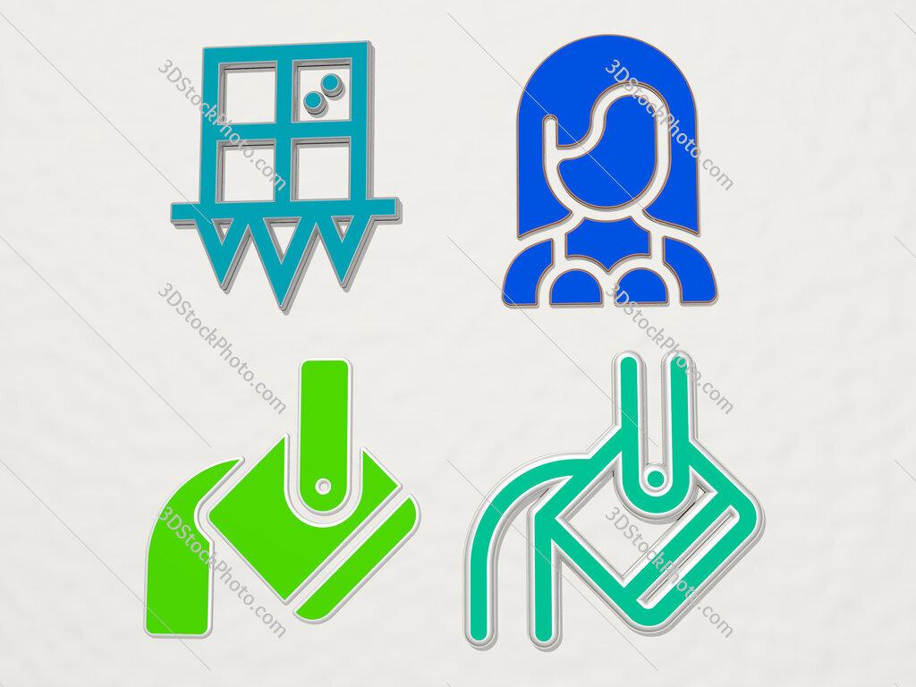 heavy 4 icons set