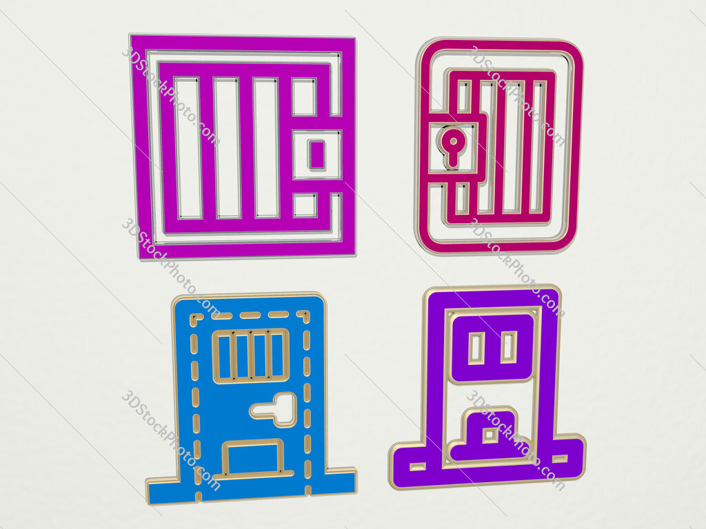 jail 4 icons set