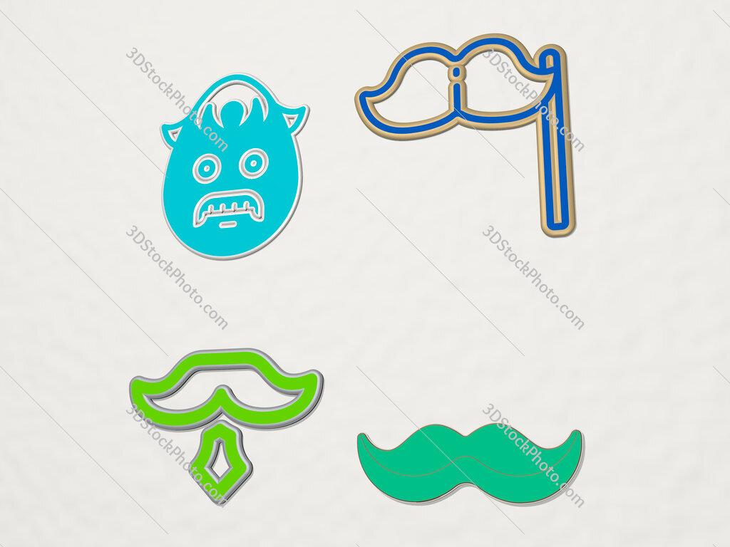 moustache 4 icons set