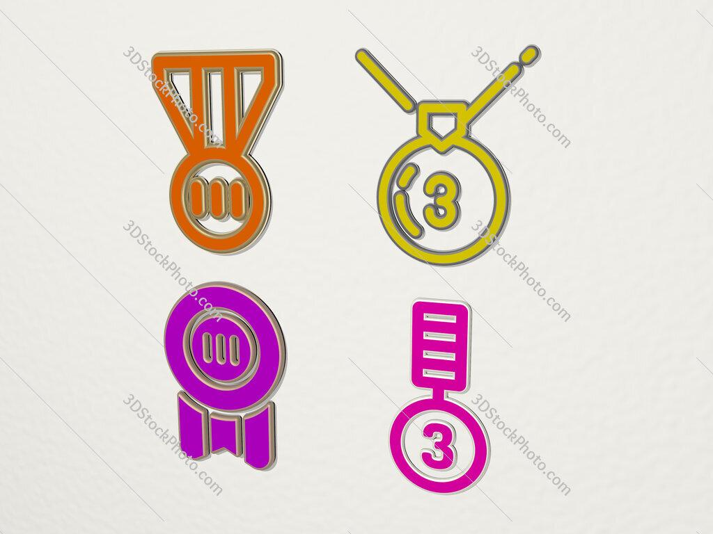 bronze medal 4 icons set