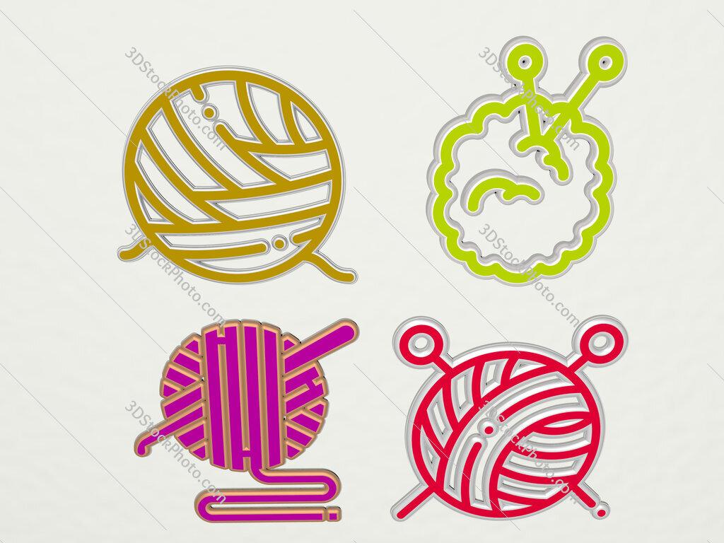yarn ball 4 icons set