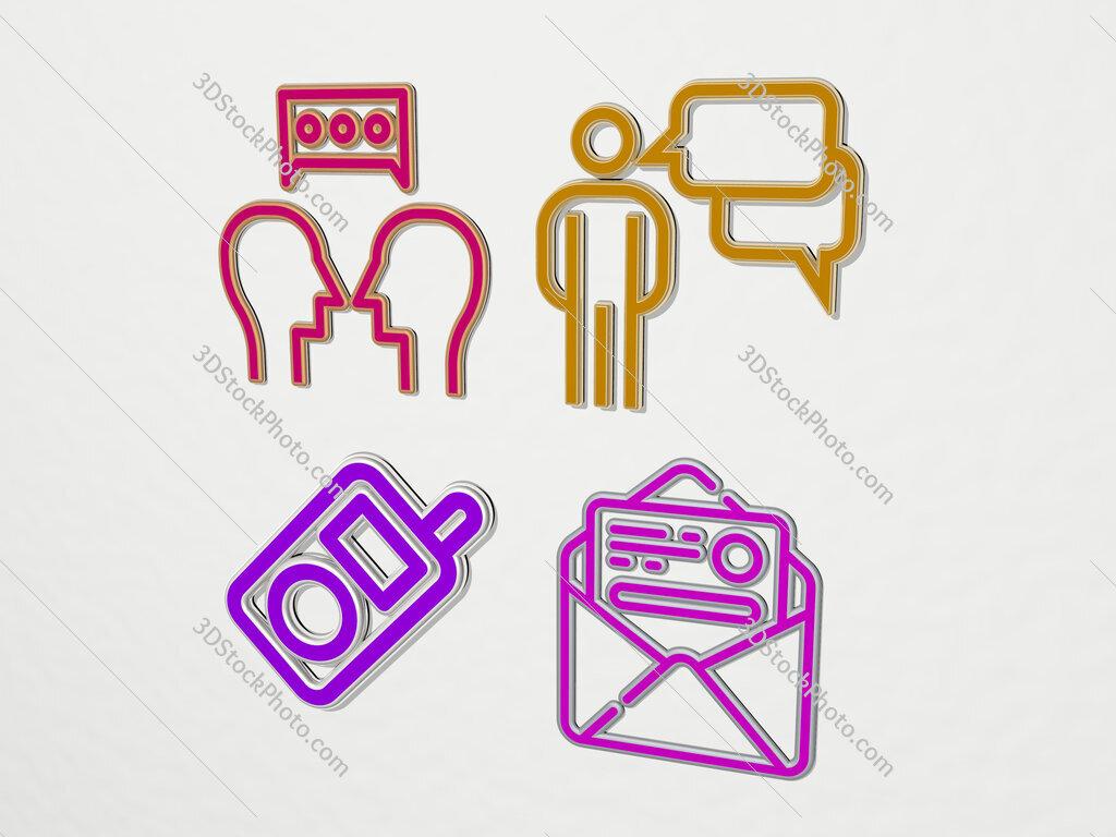 communications 4 icons set
