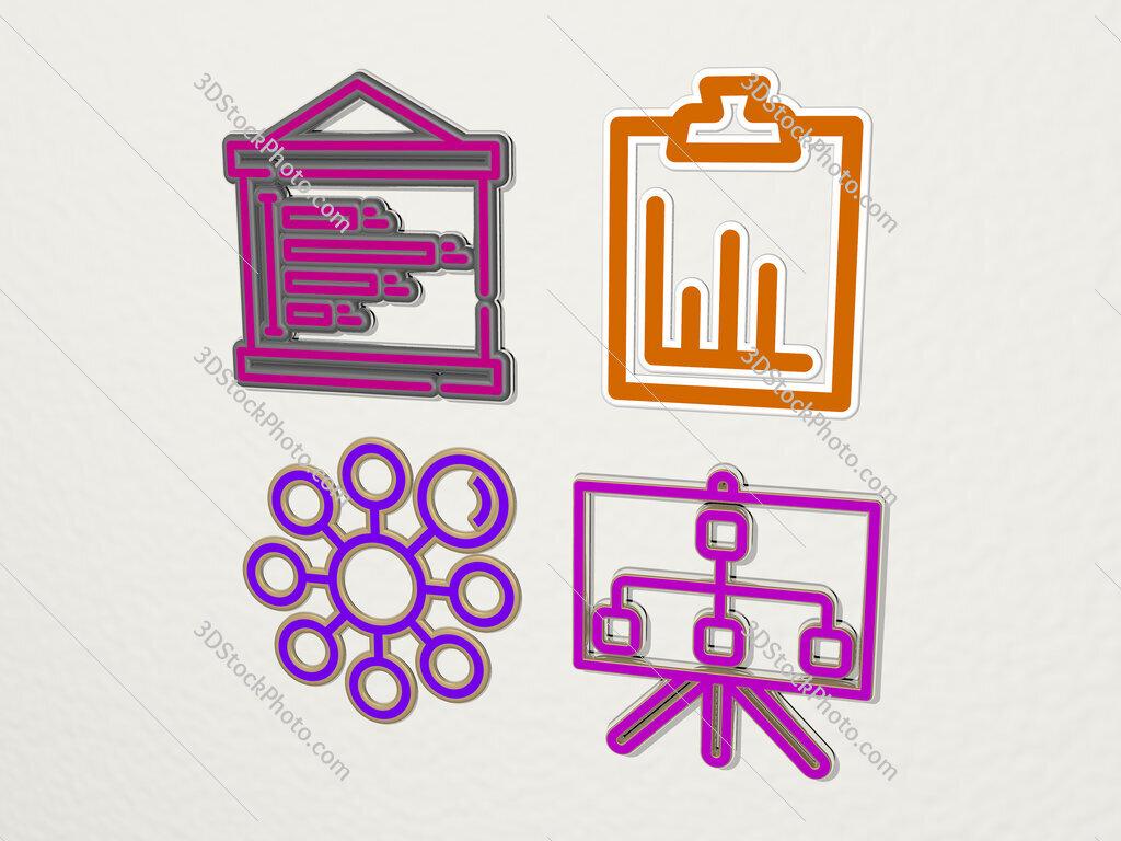 diagram 4 icons set