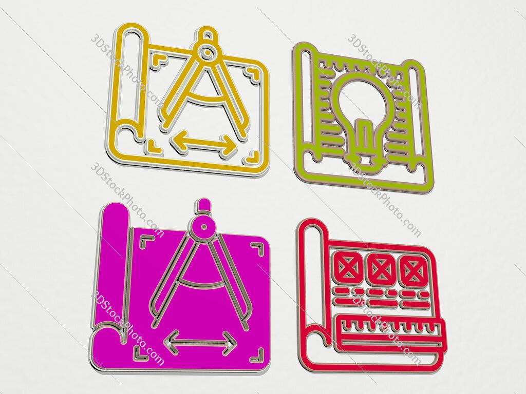 prototyping 4 icons set