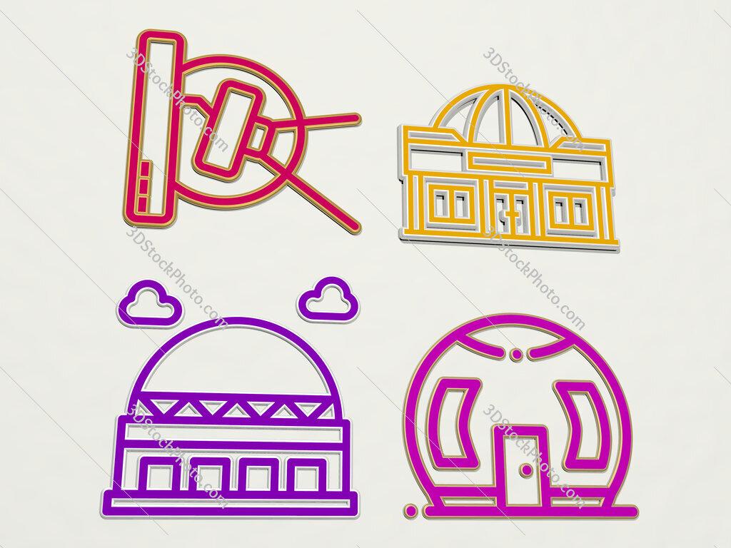 Dome 4 icons set