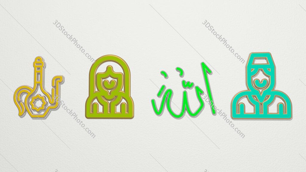 arabic 4 icons set