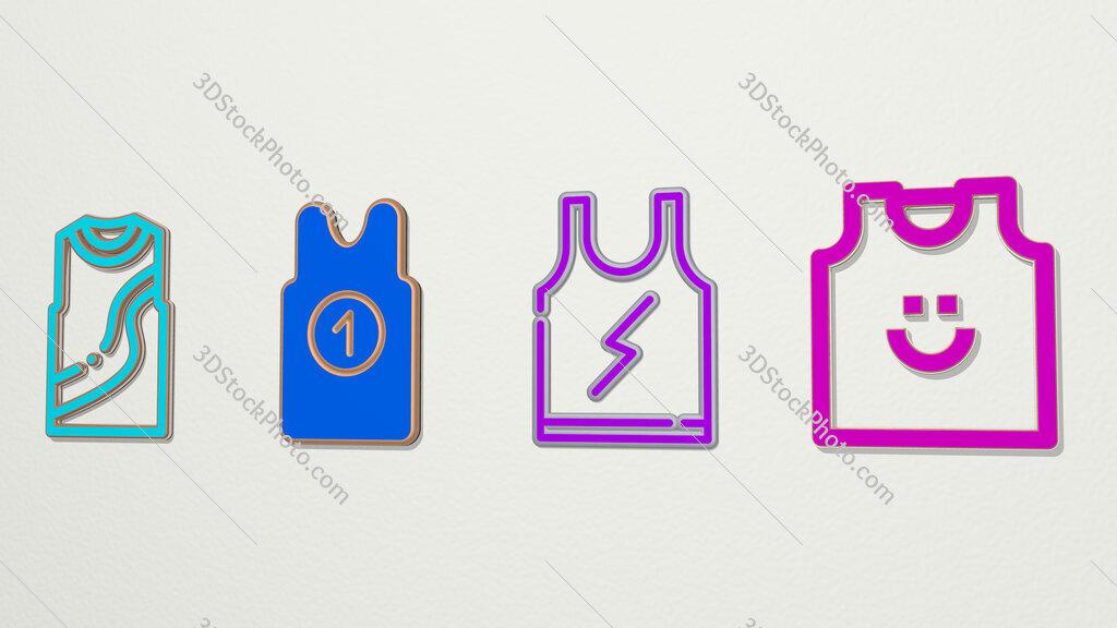 sleeveless 4 icons set