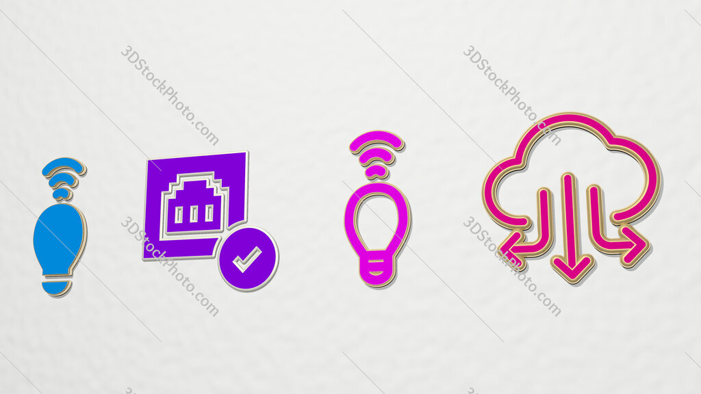 connected 4 icons set