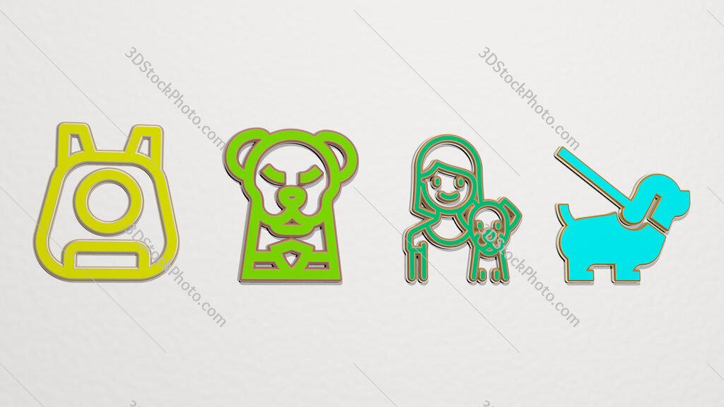 pet 4 icons set