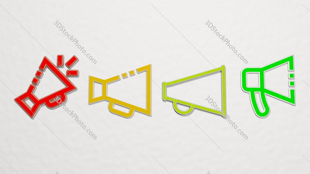 bullhorn 4 icons set
