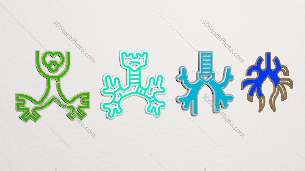 bronchus 4 icons set