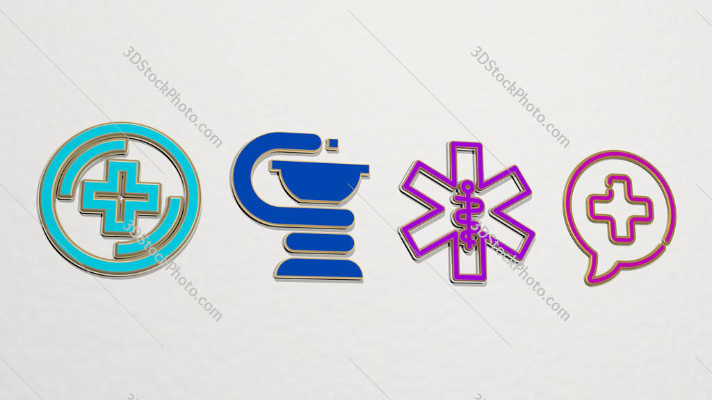 pharmacy 4 icons set