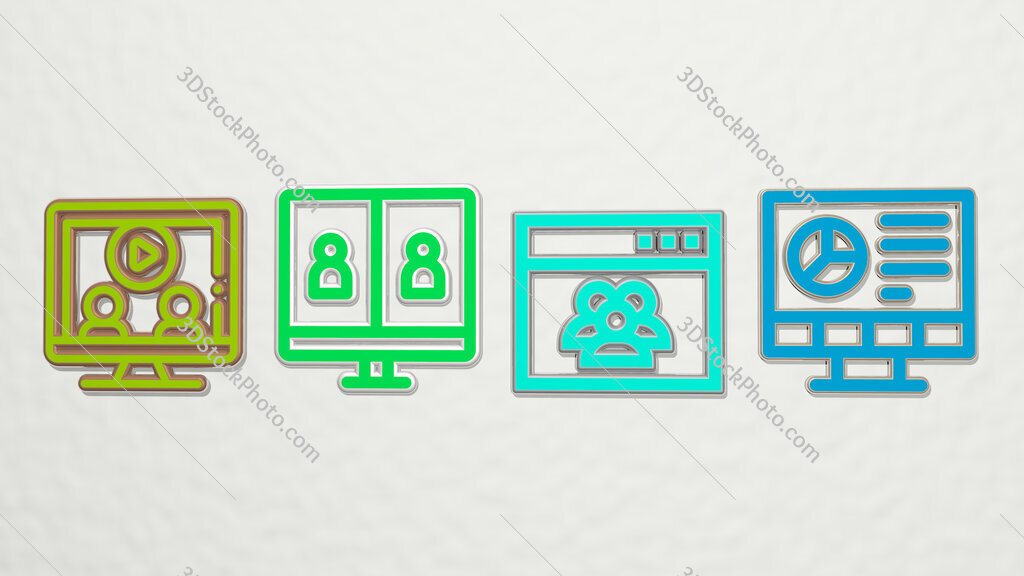 videoconference 4 icons set
