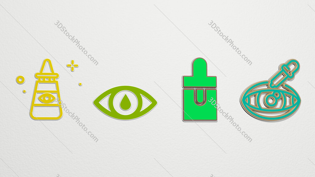 eye drop 4 icons set